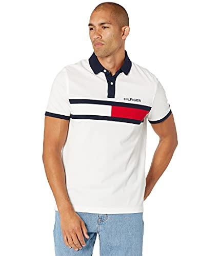 Tommy Hilfiger Men's Flag Pride Polo Shirt in Custom Fit, Bright White,...