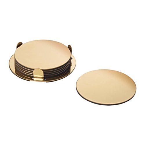 IKEA Glattis Coasters With Holder Brass Color 6 pack Size 3' 503.430.05