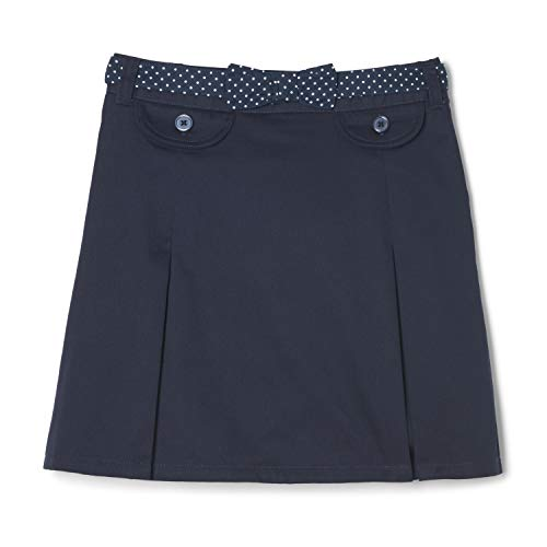 French Toast Big Girls' Polka Dot Belted Scooter, Navy, 8