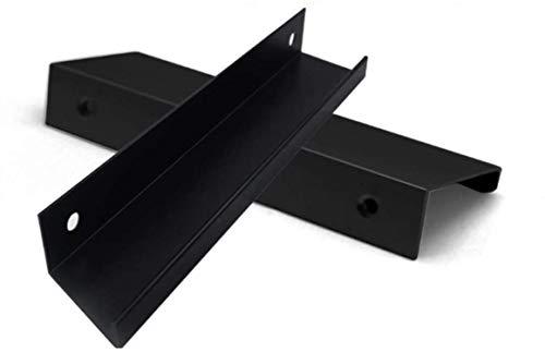 Tiberham - Tirador de borde de dedo de estilo moderno, paquete de 4 asas de puerta de color negro mate, mango oculto para el hogar, cocina, puerta de cajón (centro de agujeros de 64 mm)