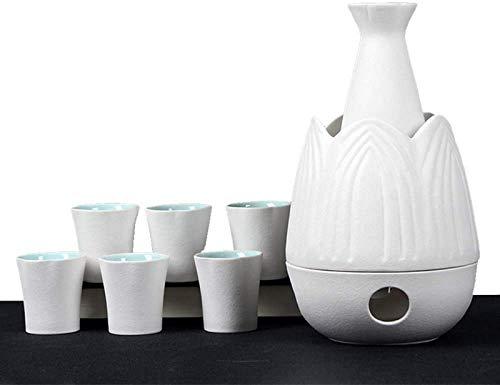 Mnjin Exquisites Japanisches Sake-Set, 9-teiliges traditionelles Sake-Servierset mit wärmerem Topf, klassisches Weiß, für kalten/warmen/heißen Sake/Shochu/Tee, Familie
