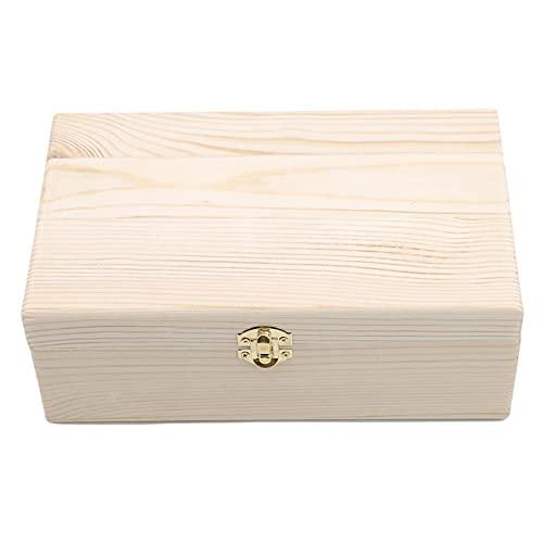 Rinclhu - Caja de almacenamiento de madera sin terminar con cierre de cierre