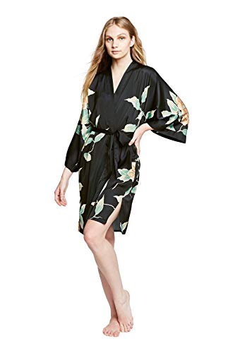 Women's Charmeuse Kimono Robe Short - Watercolor Floral - Peony & Butterfly- Black