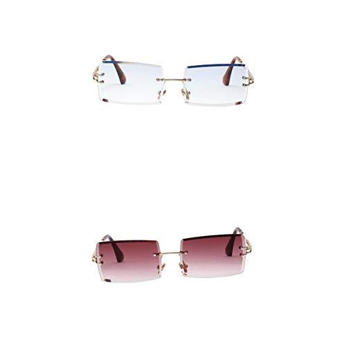 Amuzocity Gafas de Sol Sin Montura Rectangulares de 2 Piezas