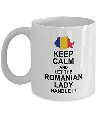 N\A eep Calm and Let The Romanian Lady Mango Taza de café, Regalo rumano para Mujeres, Abuela, mamá, tía, Novia, Regalo de cumpleaños, Taza de té, café, cerámica Blanca
