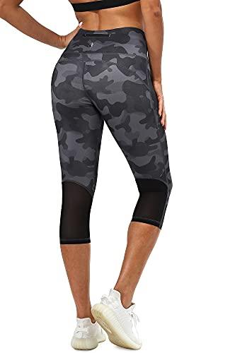 icyzone Legging Femme 3/4 Pantalon de Sport - Séchage Rapide Taille Haute avec Poche Fitness Jogging Collants (S, Gris foncé Camo)