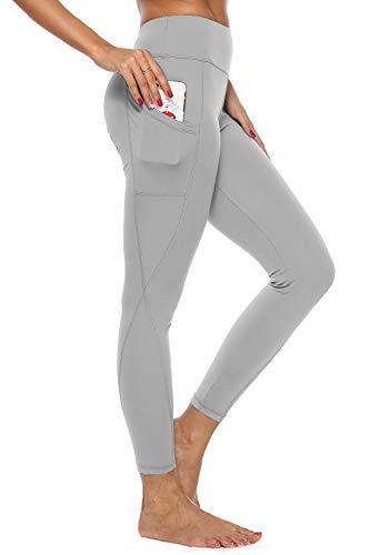 4How Damen Sport Leggings mit Handytaschen High Waist Fitness Yogahose Lang Blickdicht Sporthose Jogginghose Hellgrau S