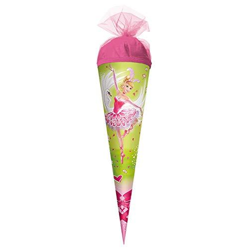 ROTH Geschenk-Schultüte klein Schwanen-Prinzessin 35 cm - rund Tüllverschluss - Zuckertüte Ballerina Tänzerin Schulanfang
