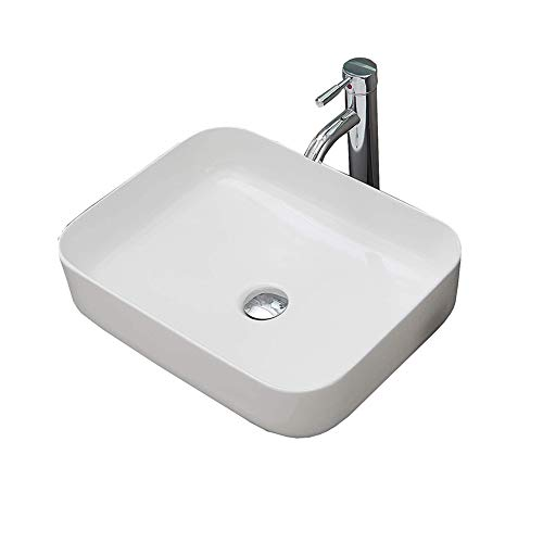 Bathroom Vanity Cabinet Art Basin,Above Counter Washing Ceramic Vessel Sink with Faucet,Pop-up Drain and Hot/Cold Water Hoses Combo