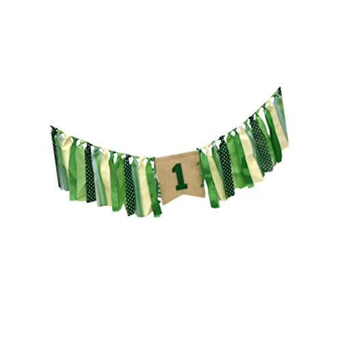 SOIMISS Jungle Theme Baby First Birthday Party Highchair Banner Boy Girl High Chair Bunting Garland Baby 1st Birthday Party Decorations Style 1
