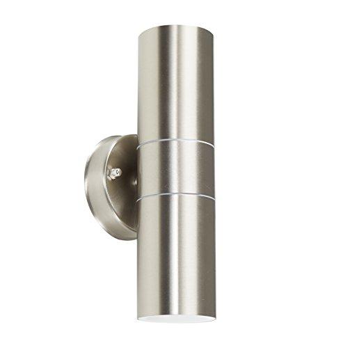 MiniSun - Aplique de pared moderno para exterior de acero inoxidable - con salida de luz inferior y superior - lámpara clasificada IP44