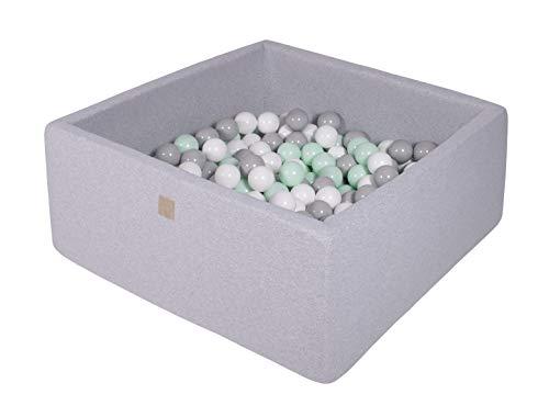 MEOWBABY Bällebad 90X90X40cm/200 Bälle ∅ 7Cm Baby Spielbad Mit Bällen Quadratisch Spielbälle Bällebad Spielzeug für Kinder Made In EU Hellgrau: Weiß/Grau/Minze