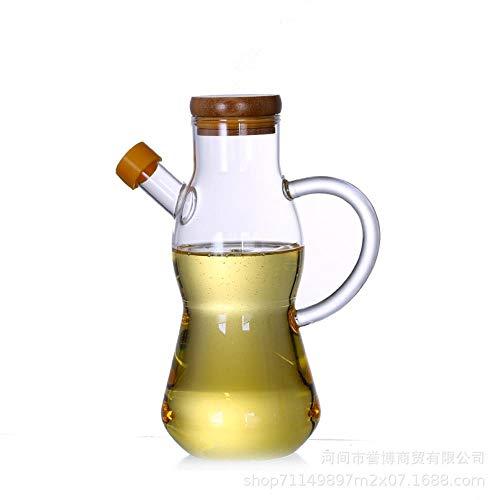 Pyrex vet, azijn, sojasaus flessen, gemakkelijk om de keuken opstuwing bamboe bedekt tank schoon te maken,650 ml van de halve cirkel