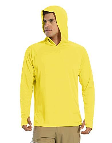 KEFITEVD Camiseta de manga larga para hombre, protección solar UPF 50+, con capucha, agujero para el pulgar, de secado rápido, camiseta funcional para pesca, senderismo amarillo XL