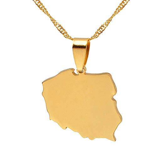 Revilium Mapa De Color Oro De Collares Colgantes Polska para Mujeres Joyería Polonia Mapea Cadena Delgada 45Cm