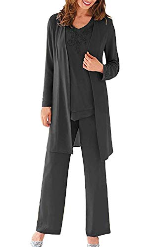 Women's Black Three Pieces Evening Dress Mother of The Bride Dresses Chiffon Pant Suits for Wedding Groom US20W