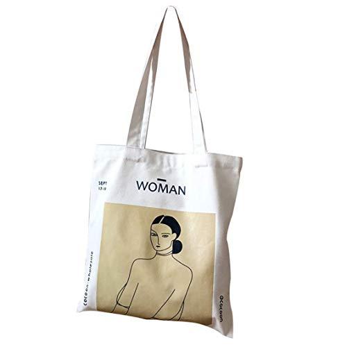 anaan Woman Borsa tote Borsa con tasca interna a Tracolla cotone e tela con manici Pittura stampa Borsa shopper decorare riutilizzabile ecocompatibile Design