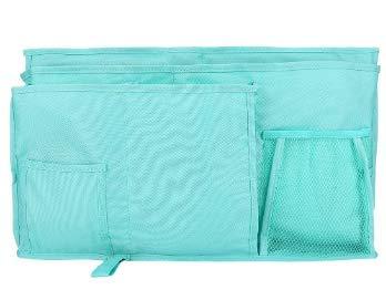 Zerodis Bedside Caddy 8 Taschen Durable Oxford multifunktionale Nachttisch Tidy Bag Hanging Storage Organizer für Kopfteile Bett Schienen Dorm Zimmer Etagenbetten Krankenhausbett(Blau)