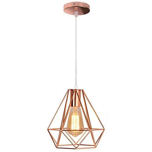 GUANSHAN Lámpara colgante de oro rosa con diamantes, lámpara colgante de hierro industrial, lámpara de techo para comedor, sala de estar, dormitorio, restaurante