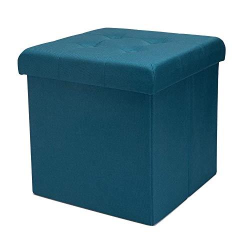 Zedelmaier Sitzhocker mit Stauraum, Fußbank Truhen Aufbewahrungsbox faltbar belastbar bis 300 kg, Leinen, 38 x 38 x 38 cm (Türkis)
