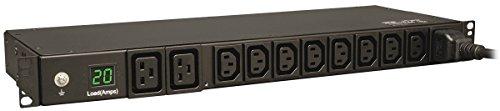 Tripp Lite Metered PDU, 10 Outlets (8 C13, 2 C19), 200-240V, C20/L6-20P Adapter, 3.2-3.8kW, 12 ft. Cord, 1U Rack-Mount Single-Phase PDU, TAA (PDUMH20HV)