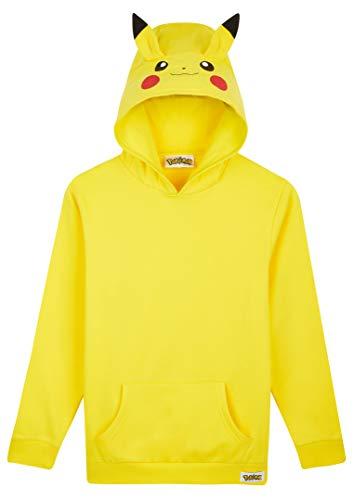 Pokemon Sweat À Capuche Enfant Pikachu, Sweatshirt Jaune avec Capuche et Oreilles 3D en 100% Coton, Idée de Cadeau pour Enfant et Ado du 4 au 14 Ans (Jaune, 7-8 Ans)