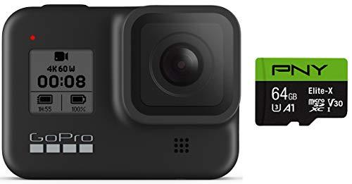 GoPro HERO8 Black + PNY Elite-X 64GB U3 microSDHC Card (Bundle)