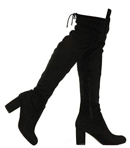 MVE Shoes Women's Thigh High Over The Knee Adjustable Fit - Suede Low Heel Boot, Bonita-02 Black Suede 10
