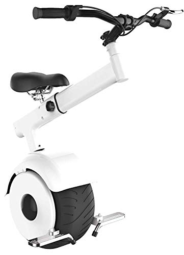 SUPERRIDE Self Balancing Electric Unicycle S800 – One Wheel Electric Scooter with Tubeless Street Tire, Tension Bar, Folding Foot Rests, 800W Hub Motor (White)