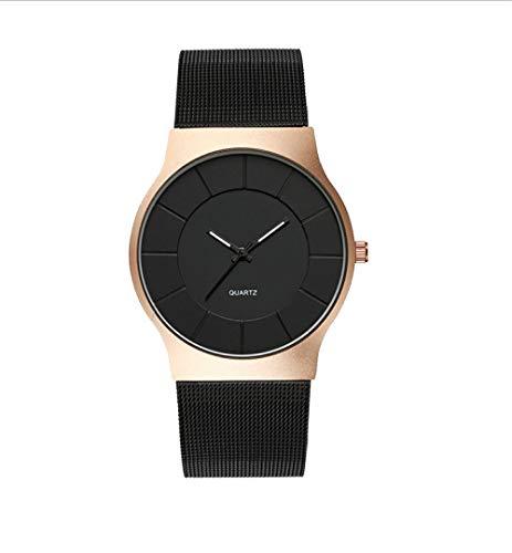 Reloj De Cuarzo Reloj con Correa De Malla Correa De Acero Inoxidable Moda Hombre De Negocios Reloj Impermeable para Mujer Oro Rosa Negro
