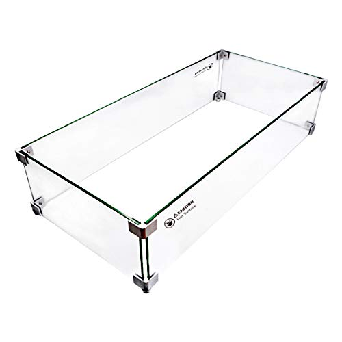 Skyflame 30 x 14 Inches Rectangular Fire Pit Glass Wind Guard for Outdoor