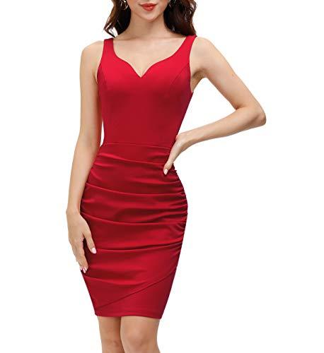 Vestido Retro Elegante para Mujer Vestidos Ajustado de Fiesta sin Mangas de Cóctel XL Rojo CLS02497-2