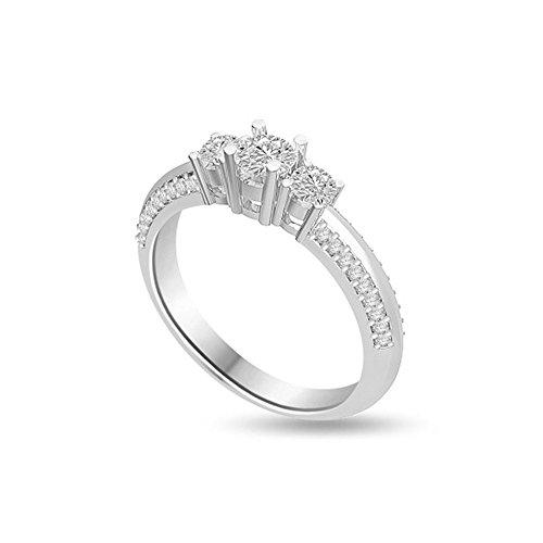 0.95ct G/VS1 Diamante Trilogy Anello da Donna con Rotonda Brillante diamanti in 18kt Oro bianco