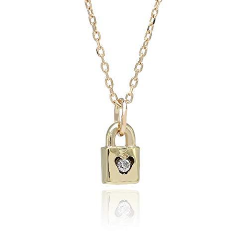 K10YG 10Kイエローゴールド ダイヤモンドネックレス 南京錠 モチーフ 錠 10KYG 天然 ダイヤモンド 0.01ct ネックレス 10金 プチネックレス