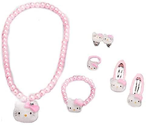 WAY2BB - Conjunto de joyas para niños, diseño de Hello Kitty, color rosa
