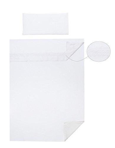 Vizaro - Spanisches BETTWÄSCHE SET 3 Tlg. ''Triptico'' Blatt-Satz für Kinderwiege (60x120cm) - 100% REINE BAUMWOLE - Made in EU - ÖkoTex - SICHERES PRODUKT - K. Weiße Stickerei