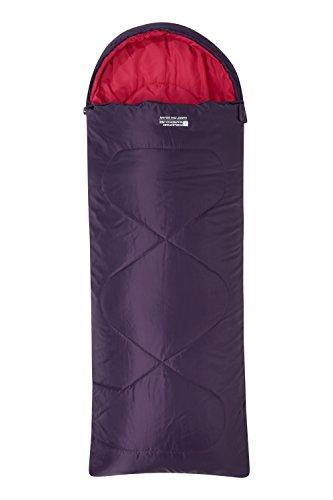 Mountain Warehouse Mini Sac de Couchage Summit carré - Sac de Couchage Enfants léger, Poche intérieure en Forme d'enveloppe, Capuche - pour Les Voyages Lila Taille Unique