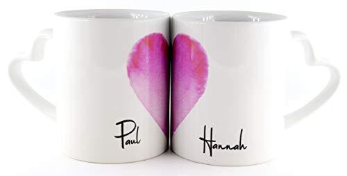 PICSonPAPER Personalisierbares Keramiktassen Set Herz mit Herzhenkel bestehend aus Zwei Tassen, Valentinstag, Hochzeit, Jahrestag, Geschenk