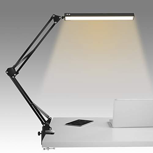 Tsock Lampada scrivania, lampada da scrivania led con 10 livelli di luminosità, 3 modalità di illuminazione, lampada da scrivania a braccio mobile con morsetto