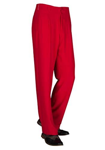 Rote Herren Bundfaltenhose mit Gerade geschnittenen Beinen, Bundfaltenhose Herren 50er Model Swing Größe 50