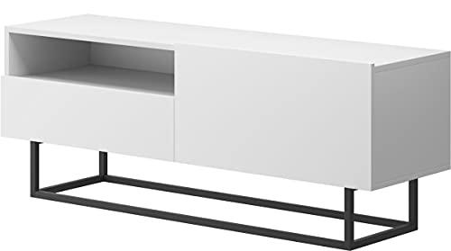 WFL GROUP Mueble de TV Industrial con Marco Metálico - Mueble de TV Independiente Consola Aparador - Blanco - 120 cm