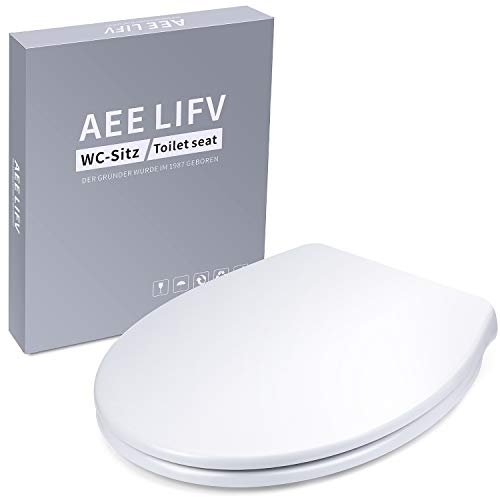 AEE LIFV Soft Close Quick Release Toilet Seats White,Heavy Duty Toilet Lid Oval Shape Simple Top Fixing Automatic Lowering Ergonomic Design with Adjustable Stainless Hinges