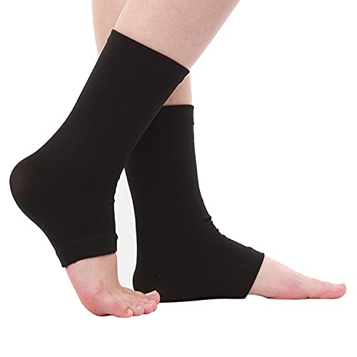 SPOTBRACE Medical Compression Breathable Ankle Brace, Elastic Thin Ankle Support, Pain Relief Ankle Sleeve for Unisex Ankle Swelling, Achilles Tendonitis, Plantar Fasciitis and Sprained - Black,1 Pair