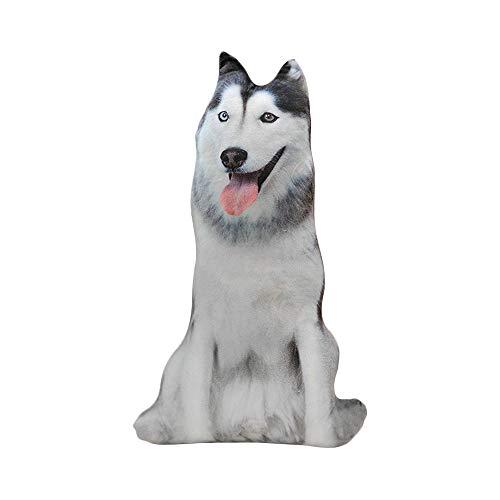 Sobotoo Peluche de Perro de simulación con impresión 3D, Almohada de Felpa con diseño de Animales, cojín de Dibujos Animados, Regalo Decorativo para el hogar