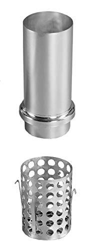 Schiebemuffe mit Laubkorb Titanzink und Standrohrkappe 100 mm