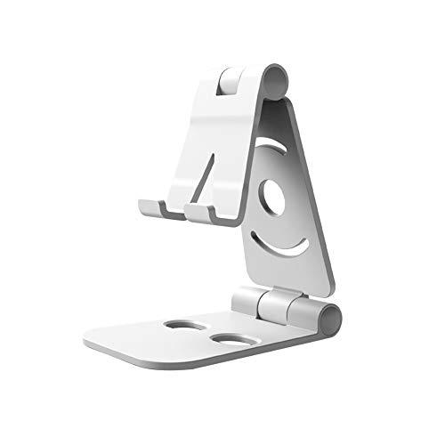 Kesio Soporte plegable para teléfono celular, portátil, ajustable, compatible con iPhone Samsung y todos los dispositivos de 4 a 10 pulgadas, color blanco
