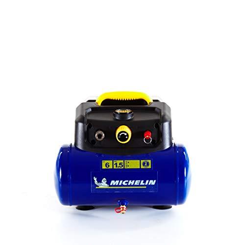 MICHELIN - Compresor de aire portátil MBL6 - Tanque de 6 litros - Sin aceite - Motor de 1,5 hp - Presión máxima 8 bar - Flujo de aire 160 l/min - 9,6 m³/h