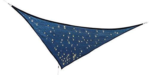 Northpoint Dreieck LED Sonnensegel Sonnenschutz 3,25x3,25x3m mit 110 LEDs und Funkeleffekt inkl. Befestigungsmaterial mit Solarpanel und separatem Netzteil und integriertem 600mAh Akku IP44