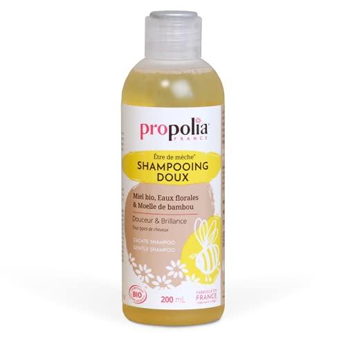 Propolia – Bio – Shampoing Doux Miel / Eaux Florales / Moelle de Bambou – Hydrate et protège les cheveux – 200 ml