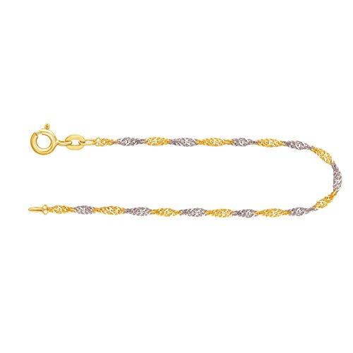 Armband Singapurkette Bicolor Gelbgold/Weißgold 585/14 K, Länge 19 cm, Breite 1.8 mm, Gewicht ca. 1.3 g, NEU